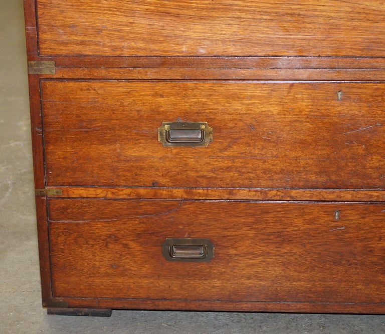 Original circa 1900 Army & Navy C.S.L Stamped Military Campaign Chest of Drawers For Sale 3