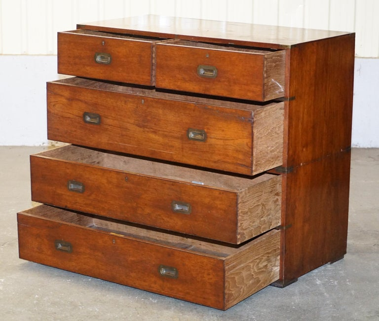 Original circa 1900 Army & Navy C.S.L Stamped Military Campaign Chest of Drawers For Sale 9