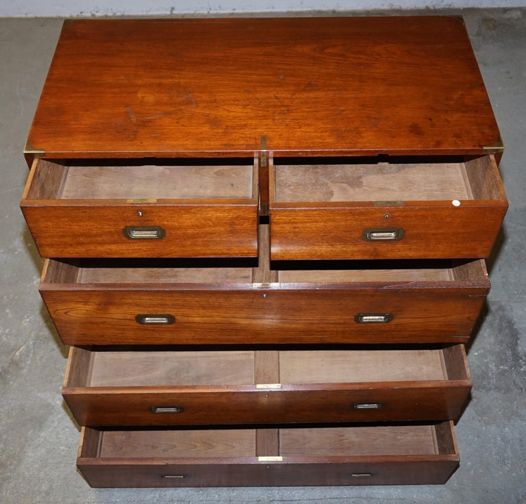 Original circa 1900 Army & Navy C.S.L Stamped Military Campaign Chest of Drawers For Sale 10