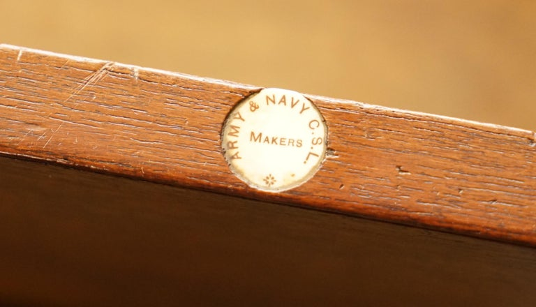 Original circa 1900 Army & Navy C.S.L Stamped Military Campaign Chest of Drawers For Sale 11