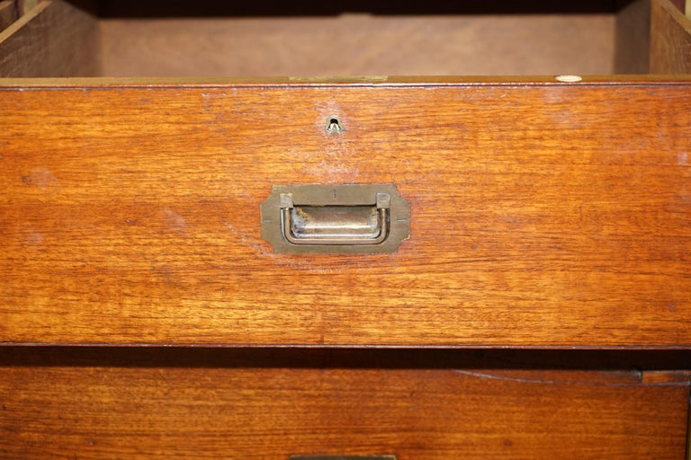 Original circa 1900 Army & Navy C.S.L Stamped Military Campaign Chest of Drawers For Sale 13