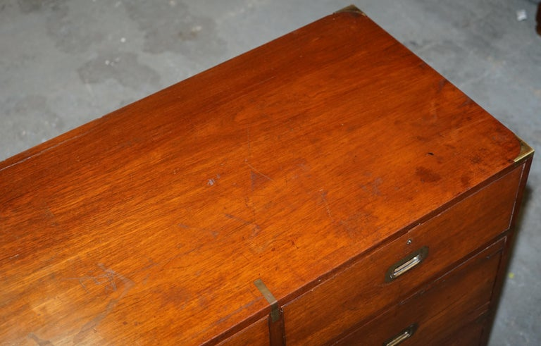 Early 20th Century Original circa 1900 Army & Navy C.S.L Stamped Military Campaign Chest of Drawers For Sale