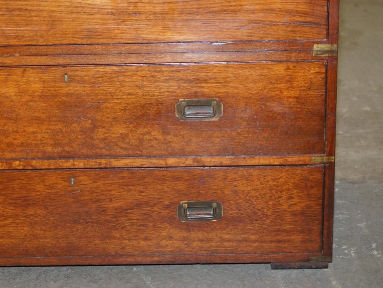 Original circa 1900 Army & Navy C.S.L Stamped Military Campaign Chest of Drawers For Sale 2