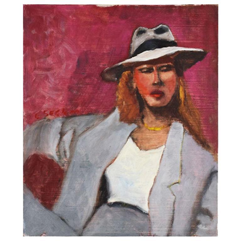 Original Clair Seglem Pink Portrait Painting of a Woman in Suit