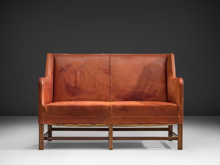 Scandinavian Modern Original Cognac Leather Kaare Klint Sofa for Rud Rasmussen