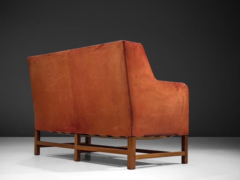 Danish Original Cognac Leather Kaare Klint Sofa for Rud Rasmussen