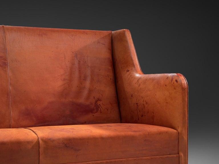 Original Cognac Leather Kaare Klint Sofa for Rud Rasmussen In Good Condition In Waalwijk, NL