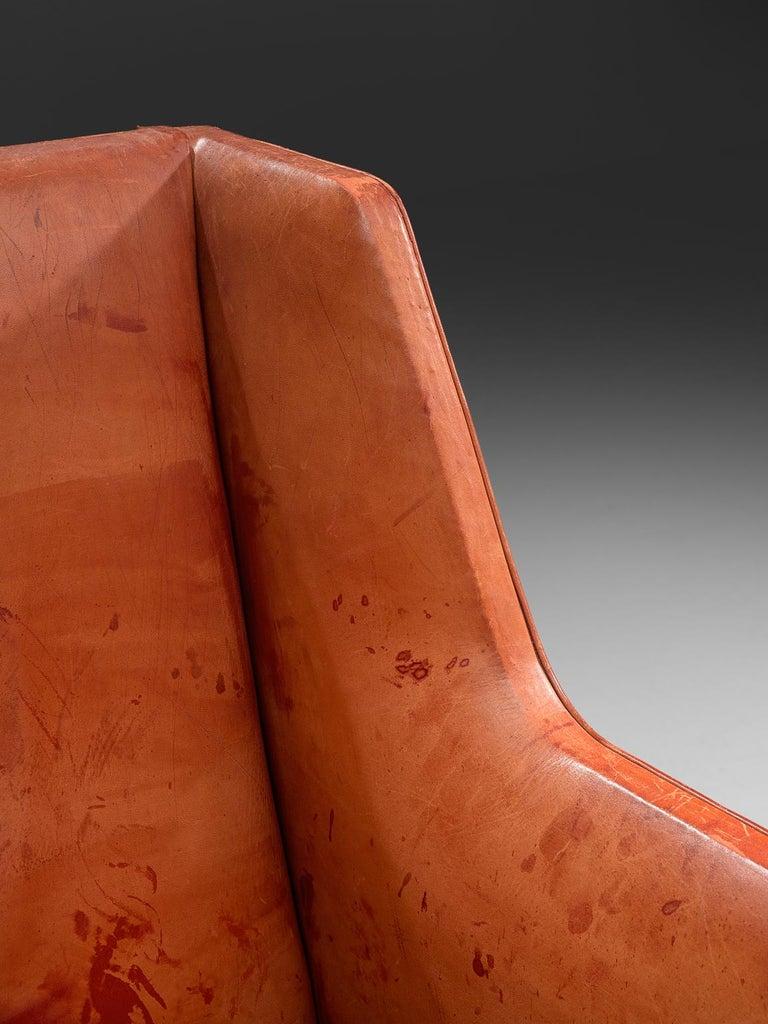 Mid-20th Century Original Cognac Leather Kaare Klint Sofa for Rud Rasmussen