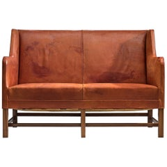 Original Cognac Leather Kaare Klint Sofa for Rud Rasmussen