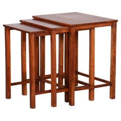 Original Condition Brown Nest Tables Made in the 1930s, Czech