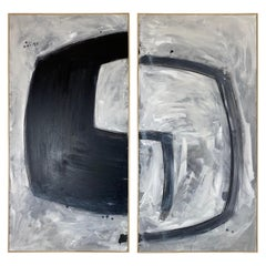 Original Contemporary Abstract Painting on Canvas, Diptych by Evan Bush