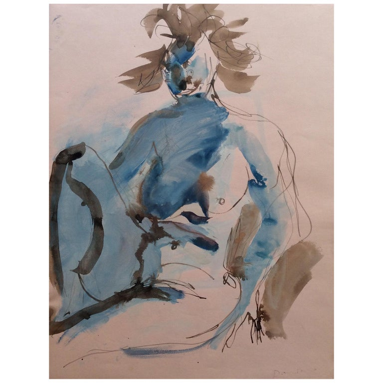 Original Nude Female Contemporary Painting by Bernard Damiano For Sale