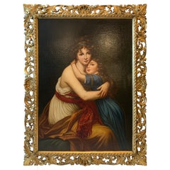 Original Continental School Oil on Canvas of Mother and Daughter, circa 1890s