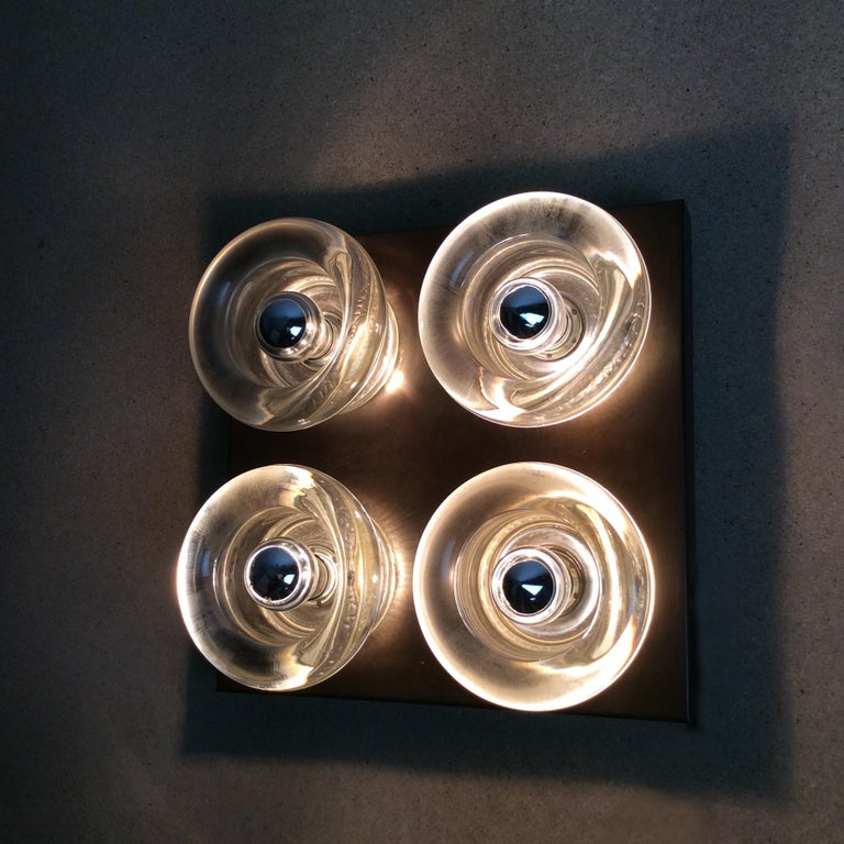 Original Copper Glass Wall Sconce Modernist Cosack Lights, Germany, 1970s In Good Condition In Kirchlengern, DE