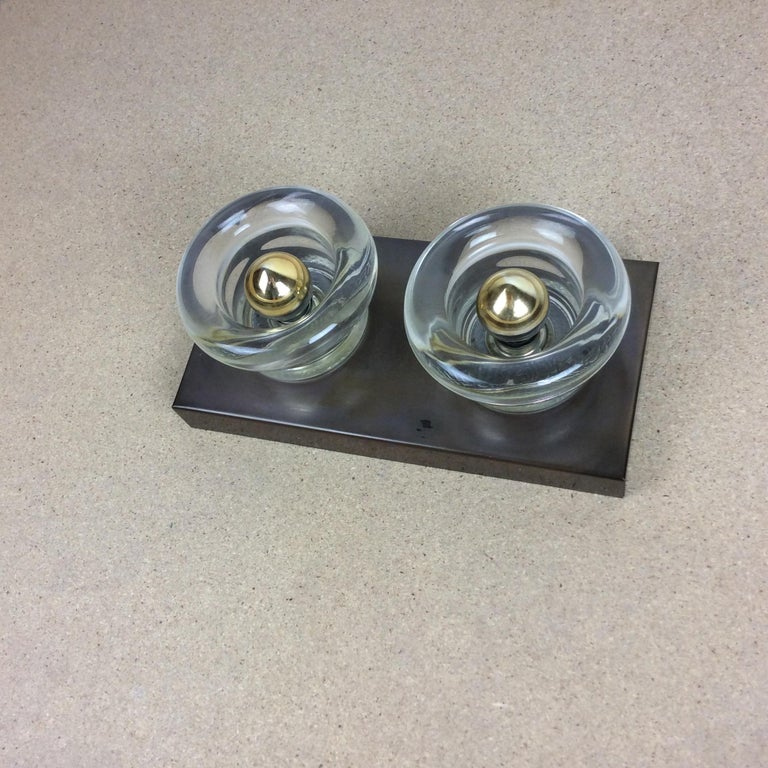 Original Copper Glass Wall Sconce Modernist Cosack Lights, Germany, 1970s In Good Condition For Sale In Kirchlengern, DE