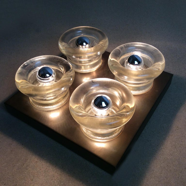 Late 20th Century Original Copper Glass Wall Sconce Modernist Cosack Lights, Germany, 1970s For Sale