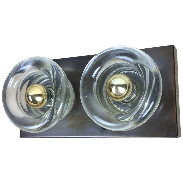 Original Copper Glass Wall Sconce Modernist Cosack Lights, Germany, 1970s For Sale