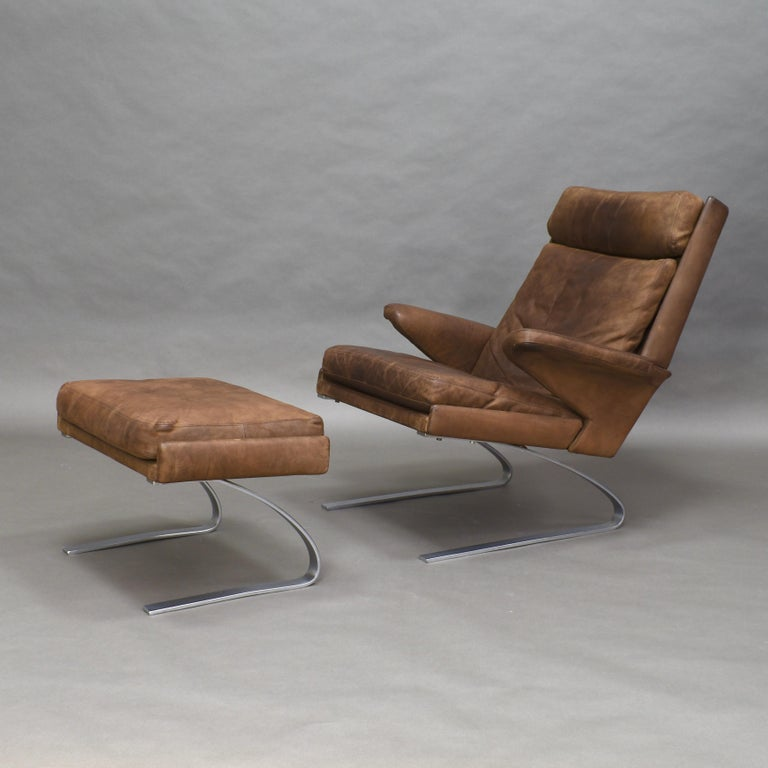 Rare full leather lounge chair and ottoman by Reinhold Adolf & Hans-Jürgen Schröpfer for COR – Germany, 1976, still in original condition.