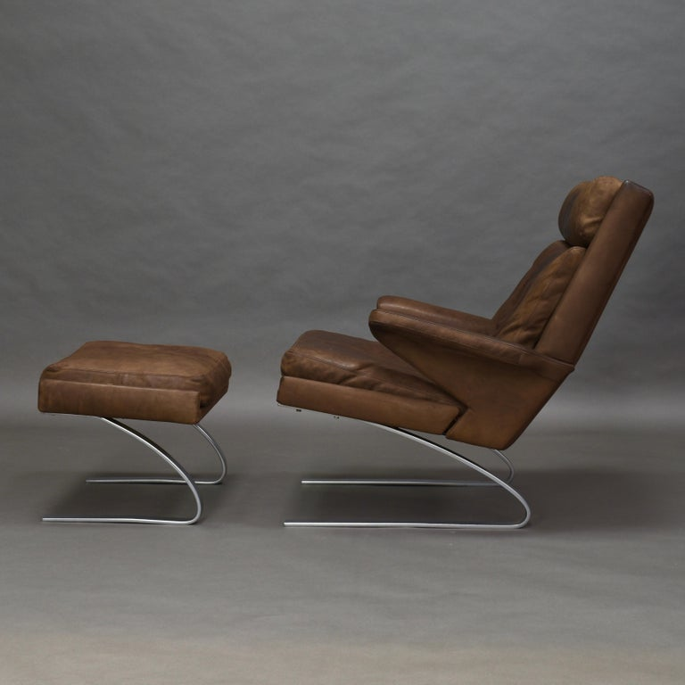 German Original COR Full Leather Lounge Armchair by Reinhold & Hans Schröpfer, 1976