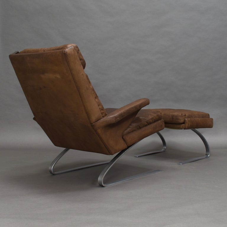 Late 20th Century Original COR Full Leather Lounge Armchair by Reinhold & Hans Schröpfer, 1976