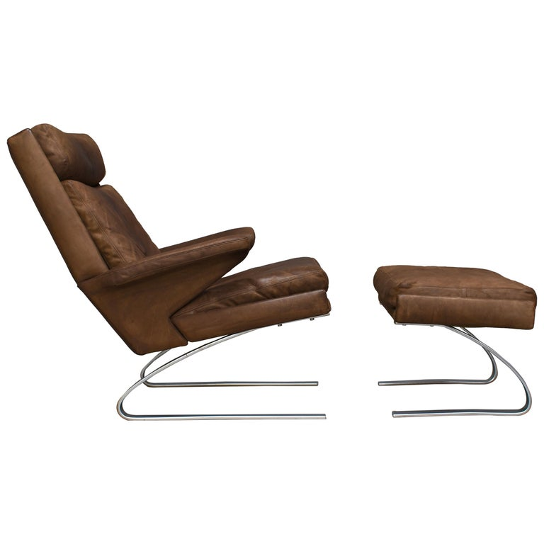 Original COR Full Leather Lounge Armchair by Reinhold & Hans Schröpfer, 1976