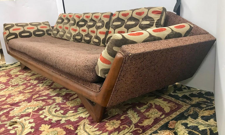 Magnificent signed Craft Associates original Adrian Pearsall Gondola sofa. All walnut body has been refurbished including joints, legs and frame. Fabric is original and is in fair condition, except new upholstery on the back cushions and side