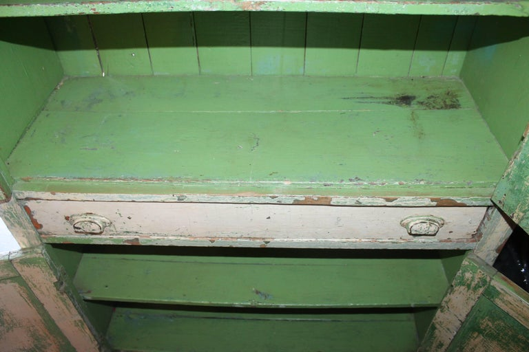 Original Cream over Green Painted 19th Century Cupboard For Sale 4