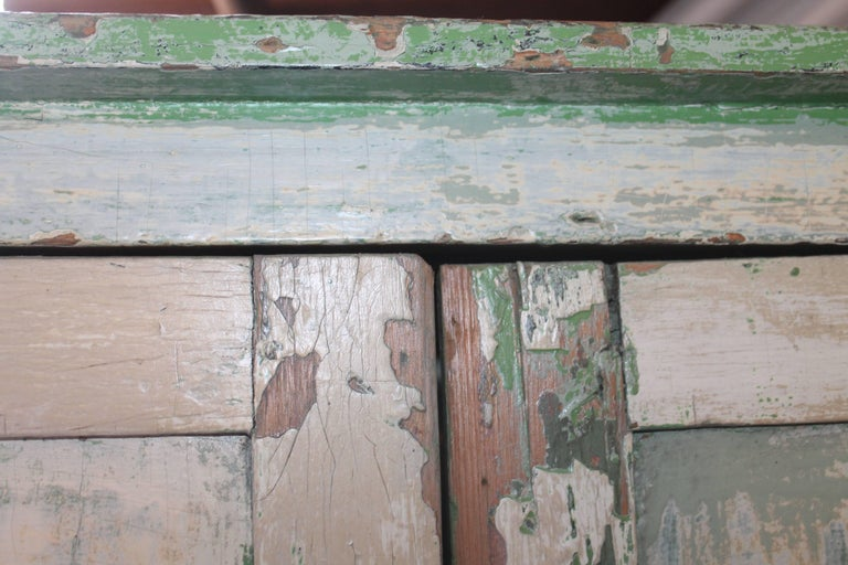 Original Cream over Green Painted 19th Century Cupboard For Sale 5