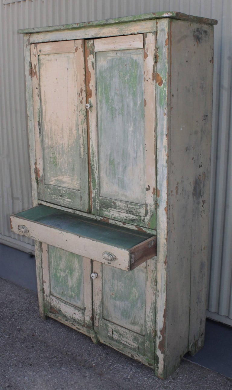 Country Original Cream over Green Painted 19th Century Cupboard For Sale