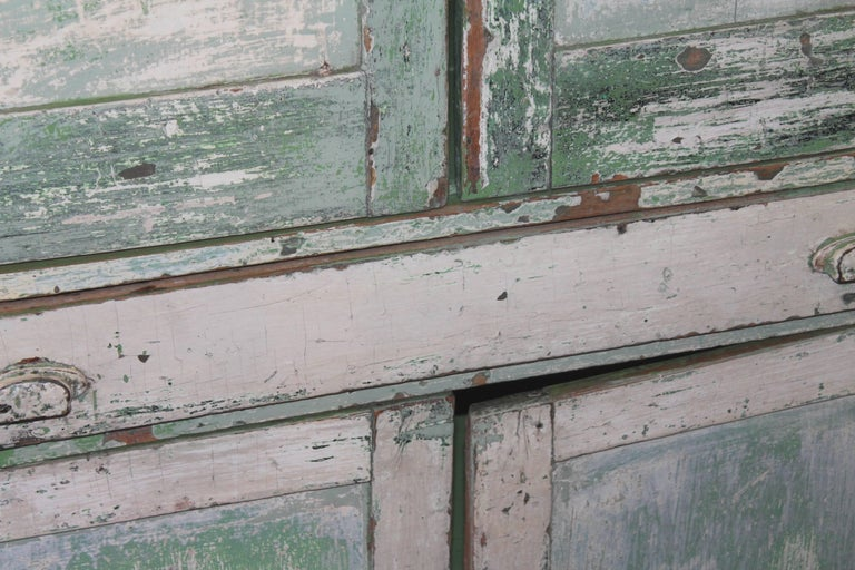 American Original Cream over Green Painted 19th Century Cupboard For Sale