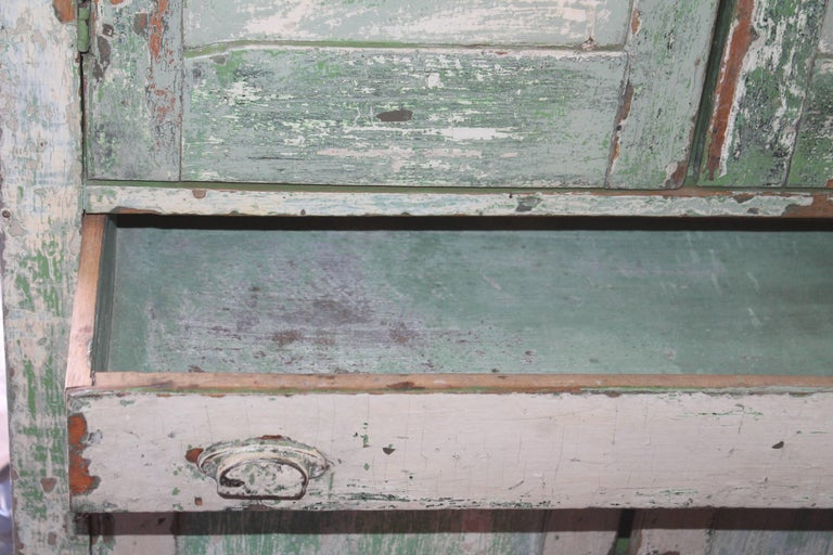 Hand-Painted Original Cream over Green Painted 19th Century Cupboard For Sale
