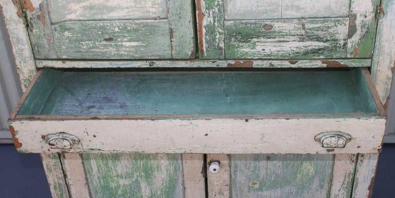 Original Cream over Green Painted 19th Century Cupboard In Excellent Condition For Sale In Los Angeles, CA