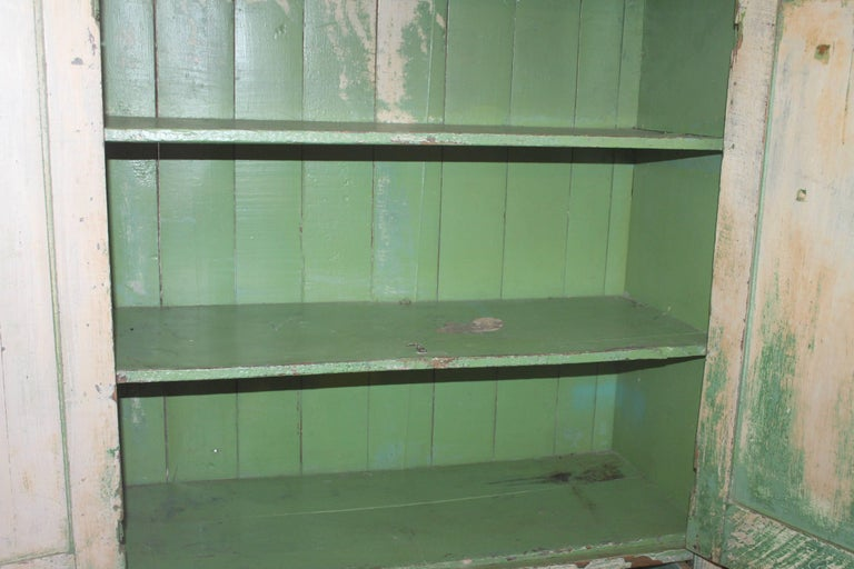 Original Cream over Green Painted 19th Century Cupboard For Sale 1
