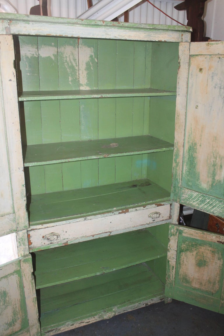 Original Cream over Green Painted 19th Century Cupboard For Sale 2
