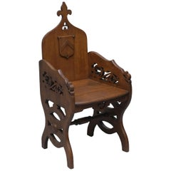 Original Criddle & Smith Stamped Victorian Walnut Gothic Revival Church Armchair
