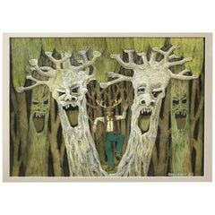 Original 'Crie des Arbres' Figurative Fantasy Painting