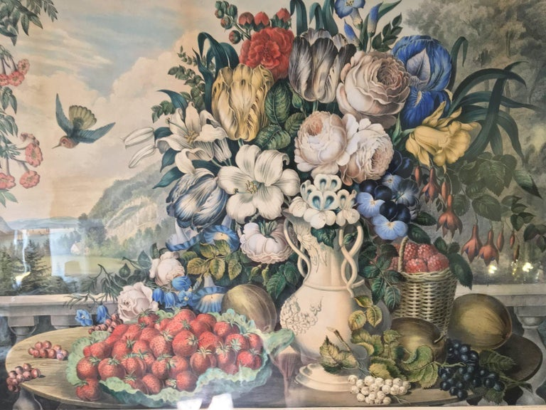 Landscape, fruit, and flowers hand colored lithograph, 1862. Large folio, image size: 19 15/16 x 27 1/2