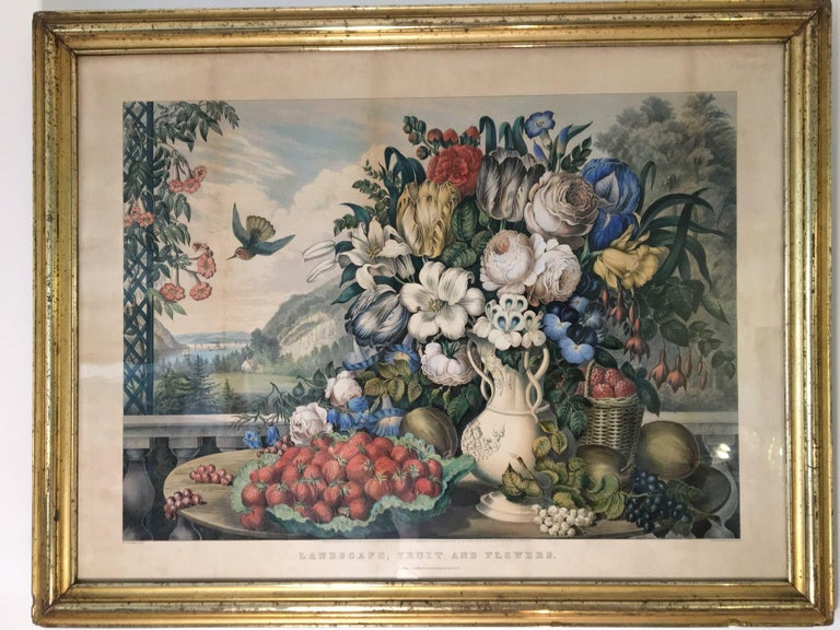 American Original Currier & Ives Landscape Still Life Engraving with Exceptional Frame For Sale