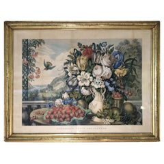 Original Currier & Ives Landscape Still Life Engraving with Exceptional Frame