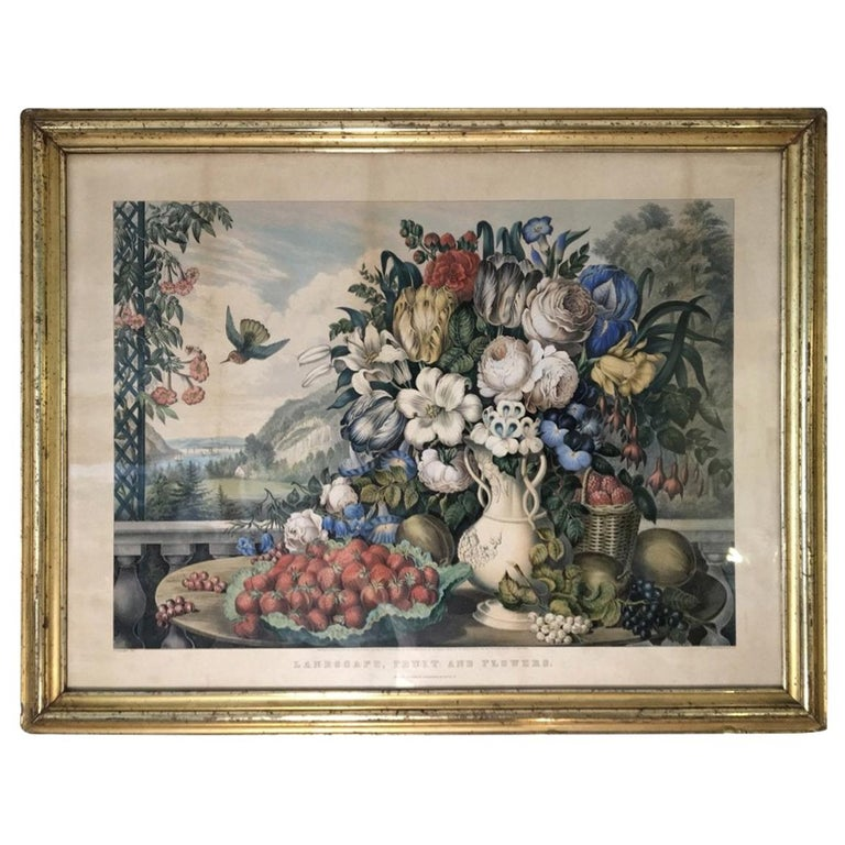 Original Currier & Ives Landscape Still Life Engraving with Exceptional Frame For Sale