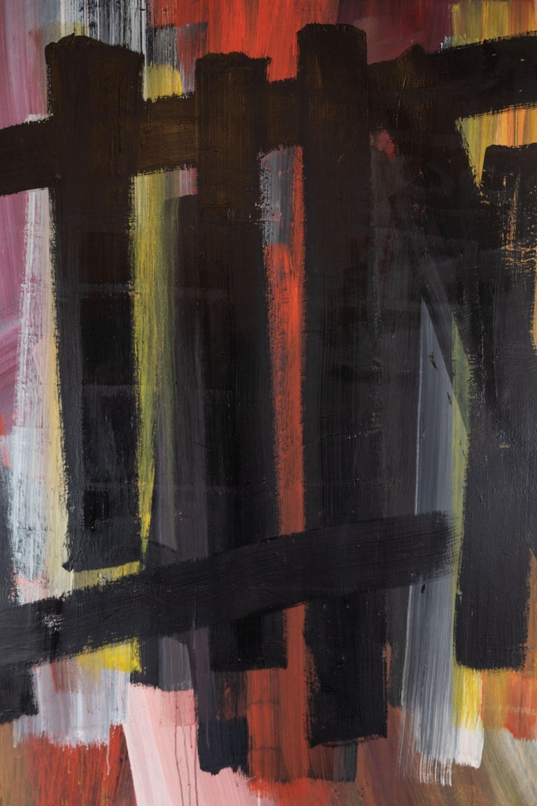 Large, bold, signed, dated, 1963, oil-on-canvas painting,