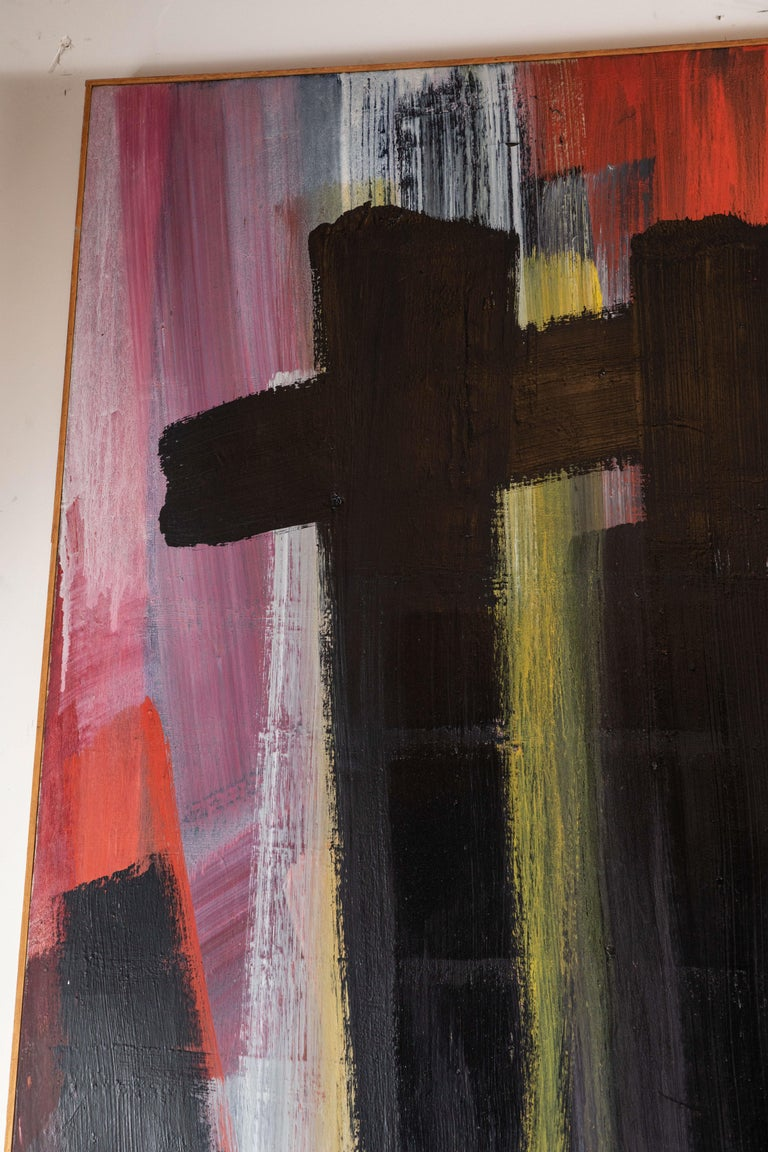 Mid-20th Century Original, Abstract, 1963 Oil Painting For Sale