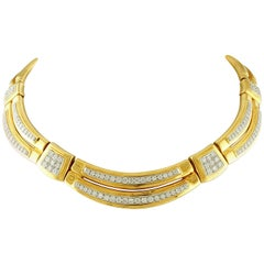 David Webb Signed Choker Necklace in 18k Yellow Gold & 13.7ct Diamonds