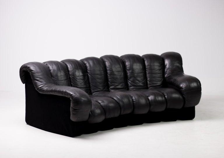 Original De Sede DS600 Black on Black Non Stop Sectional Sofa For Sale 3