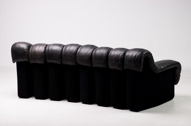 Original De Sede DS600 Black on Black Non Stop Sectional Sofa In Good Condition For Sale In Dronten, NL
