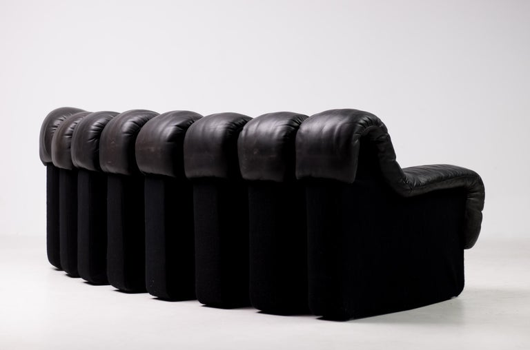 Leather Original De Sede DS600 Black on Black Non Stop Sectional Sofa For Sale