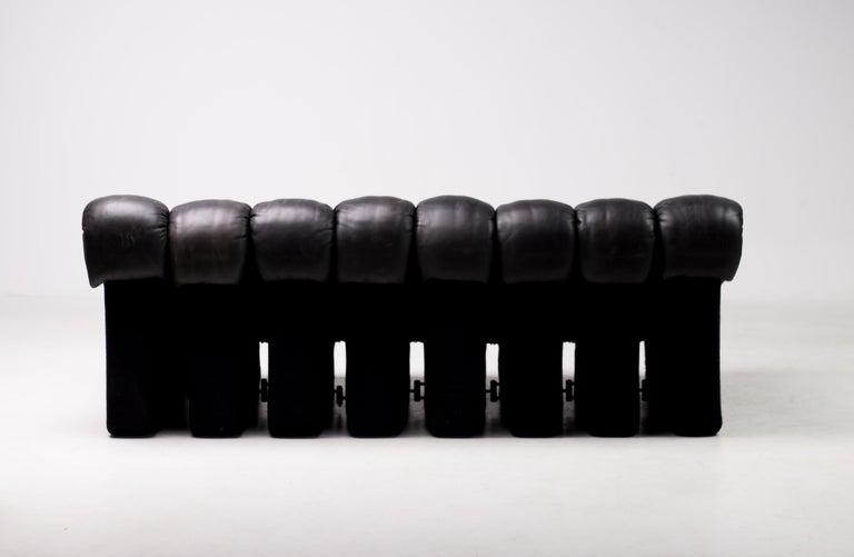 Original De Sede DS600 Black on Black Non Stop Sectional Sofa For Sale 1