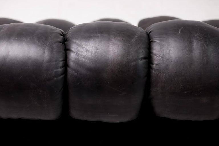Original De Sede DS600 Black on Black Non Stop Sectional Sofa For Sale 2