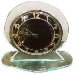 Original Decò Crystal Table Clock Turtle Effect Dial,  1930s