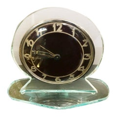 Original Deco Crystal Table Clock Turtle Effect Dial, 1930s